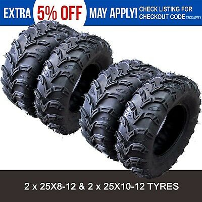 6 ply 2 * 25x8-12 & 2 * 25x10-12 UTV ATV Tire/Tyre Yamaha Grizzly 350 450 700 cc