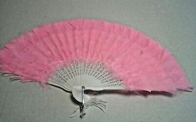 Pink Feather Hand Fan w/ Tassels New in Package