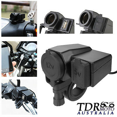 12V Motorcycle ATV Dirt Bike USB Charger Cigarette Cell Phone GPS for Kawasaki