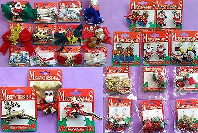 Bulk Lot x 6 Ladies Girls Mixed Xmas Accessories Hair Clips Earrings Brooches