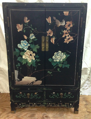 Vtg Oriental Chinese Furniture Black Lacquer Cabinet Girl Lady Landscape