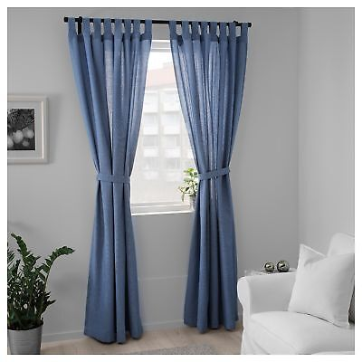 100% IKEA CURTAINS Living Room Bedroom Window Sheer Blinds 250x140cm Bright  Blue