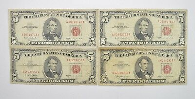 Lot of (4) $5.00 Red Seal Old US Notes Currency Collection 1963 *360