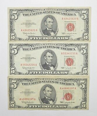 Lot of 3 - RED SEAL - $5.00 United States Notes - 1963 Lot Collection *338