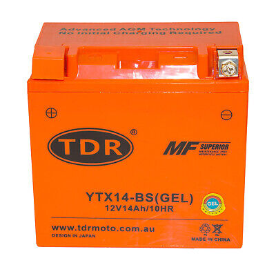 Tdrmoto Ytx14-Bs 12V Gel Battery Honda Atv Quad Bike Trx 300/350/400/420/450/650