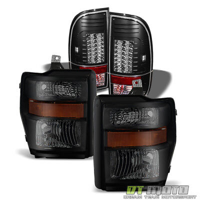 2008-2010 Ford F250/F350/F450/F550 Super Duty Blk Smoke Headlamps+LED Tail Lamps
