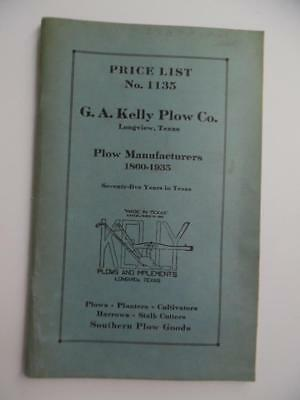 1935 G.A. Kelly Plow Company Catalog Longview Texas Cultivators Vintage Original
