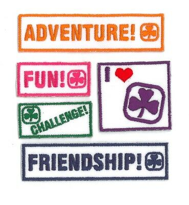 """Girl Guide Scout Brownie BADGE PATCH – new! ~ I Heart Guiding 5-piece set 3"""""""