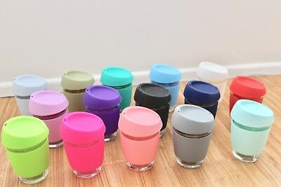 Custom Colour Glass Reusable Eco Coffee Cup Mug Silicone Lid 12oz 350ml AU STOCK