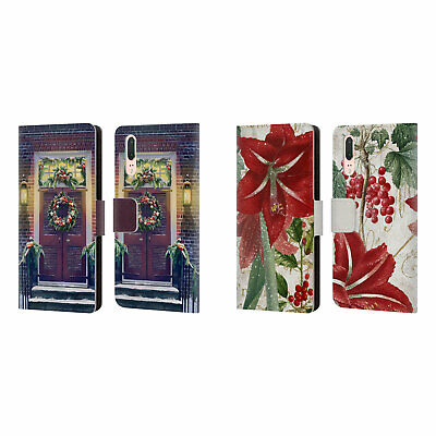 Official Christmas Mix Ornaments Leather Book Wallet Case For Huawei Phones
