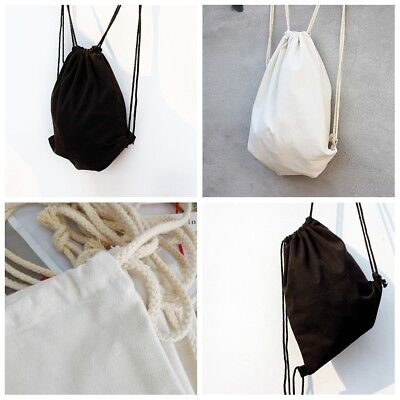 Drawstring Backpack Cinch Sack Tote Bag Cotton Canvas School Sport Pack New