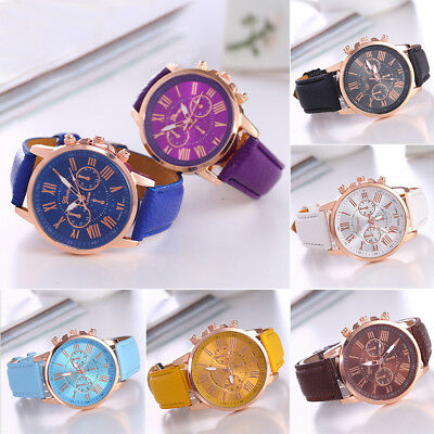 Fashion Geneva Men Women PU Leather Band Watches Quartz Analog Sport Wristwatch