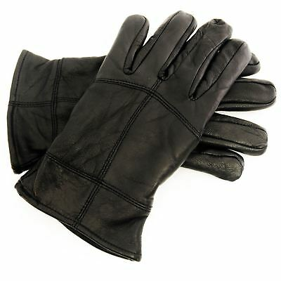 New Mens Black Sheepskin Leather Gloves Winter Warm Thinsulate Lining Great Gift