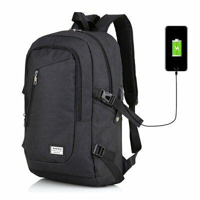 Fashion Anti-theft Laptop Notebook Backpack With USB Charging Port School Bag AU
