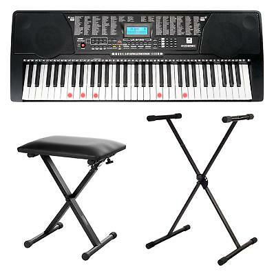 61 Leucht Tasten Keyboard Lern Sounds Rhythmen USB MP3 Set Ständer Bank Hocker