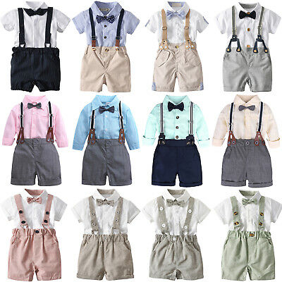Toddler Baby Boys Summer Outfits Formal Suit Tops + Suspender Pant Gentleman Set