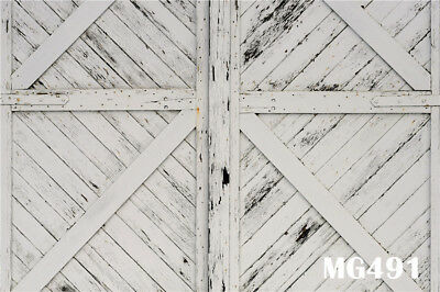 7X5FT Rustic Barn White Wood Door Vinyl Photography Background Studio Backdrop