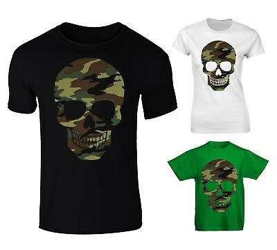 Forest Camo Camouflage Patterned Skull T-shirt - Mens, Womens, Kids Sizes