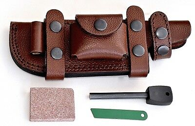 CFK Custom Handmade Brown-Leather Horizontal Knife Sheath Wet-Stone Fire-Starter