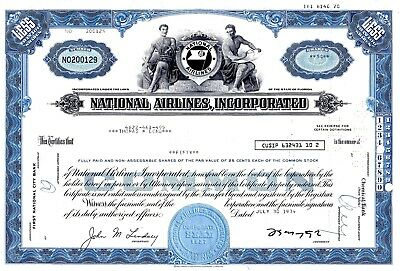 National Airlines Incorporated of Florida 1970's Stock Certificate - blue