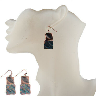 Vintage Fashion Alloy Red Copper Double Square Hook Women's  Bohemian Earrings