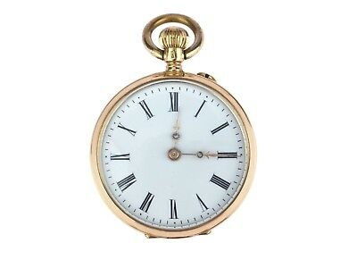 Jugendstil 14 K 585 Gold mechanische Damen Open Face Taschenuhr 30 mm antik
