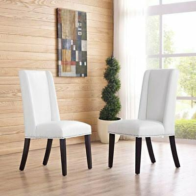 Modway Furniture Baron Vinyl Dining Chair in White - EEI-2232-WHI