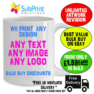 Company Branded Business Promo Mug,Any Image,Logo,text - Bulk from only £1.59ea