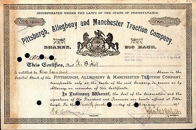 Pittsburgh Allegheny & Manchester Traction Company 1891 Stock Certificate