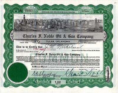 Charles F. Noble Oil and Gas Company of Tulsa, Oklahoma 1919 Stock Certificate