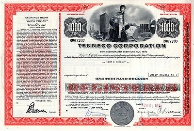 Tenneco Corporation - an Oil and Gas Company - 1971 $1000 Bond Certificate