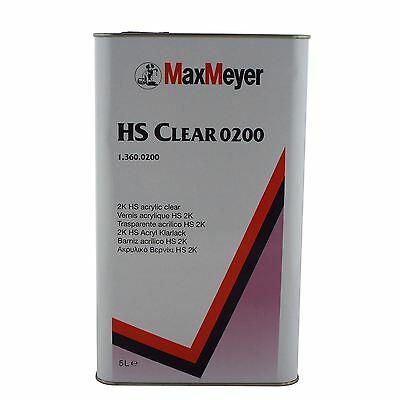 Max Meyer 0200 Maxiclear HS Lacquer 2K Clear Coat Car Lacquer 5 Litre