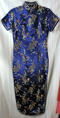 Stunning Vintage Chinese dress size LARGE 100% SILK Blue Fully LINED PRISTINE
