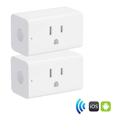 WiFi Smart Plug 2 Pack, Wireless Mini Outlet Switch with Timer Function NEW US