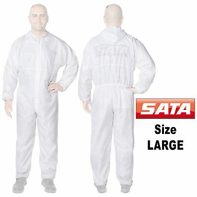 Genuine Sata 129460 Large [L] White Paint Overalls Elasticated Wrists/Ankles