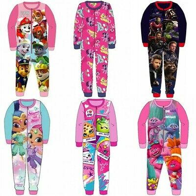 Kids All in One Boys Girls Fleece Character Childrens Pyjamas Age 1-10 Years