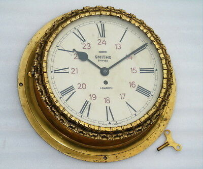 Giant 17 inch All Brass Smiths Empire London Mechanical Winding Huge Ships Clock