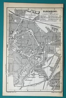 1897 BAEDEKER MAP - Germany Oldenburg Town Plan + Railroads