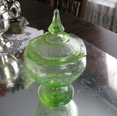 Gorgeous Green Depression Glass '' Princess'  Lidded Candy Jar