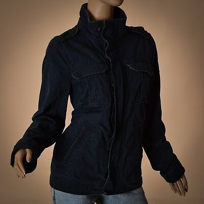 Abercrombie&Fitch women jacket size S small dark blue washed cotton Genuine