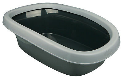 Trixie EXTRA LARGE Cat Litter Tray Loo Toilet With Rim 38 x 17 x 58cm Grey 40121