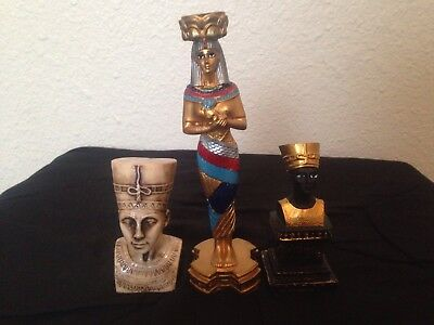 Three status of the most Beautiful ancient Egyptian queen Nefertiti 4lb