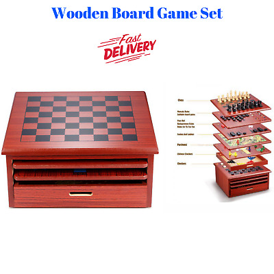 NEW Indoor Board Game 10 in 1 Games Party Kids Gaming Chess Checkers Snake Ladde