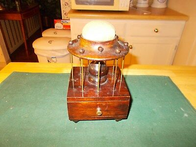 Victorian Era Late 1800S Early 1900S Thread Holder With Drawer Canvas Pincushion
