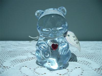 Vintage Fenton Glass Birthstone Bear With Red Heart For January - Vg Cond