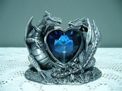 Vintage Pewter Figurine - Romancing The Dragon - Mark Locker - Crystal Heart Vgc