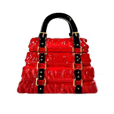 Yuyu Purse Cookie Jar Red Black Gold Perfect Solutions By Creative Home LLC  EUC