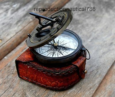 Solid brass Astrolabe Antique Working Compass With Leather Case Decor