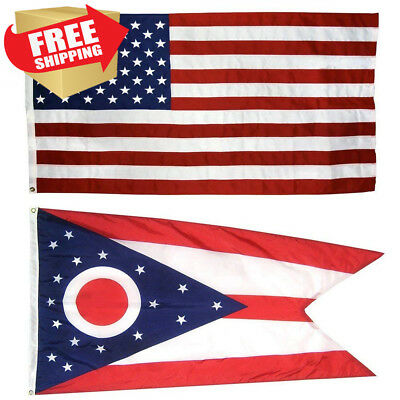 US Flag with Ohio State 3 x 5 - 100% American Made - Nylon