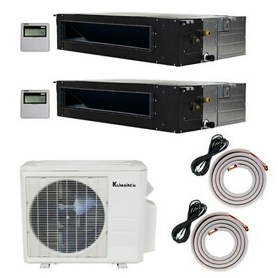 Klimaire 18K BTU 2-Zone 19 Seer 2X12000 Btu Ducted Recessed Fan Coils 15FT Kits